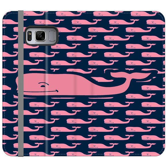 The Pope Vines Whale Pattern Navy Samsung Galaxy S8 Flip Case | Frostedcase
