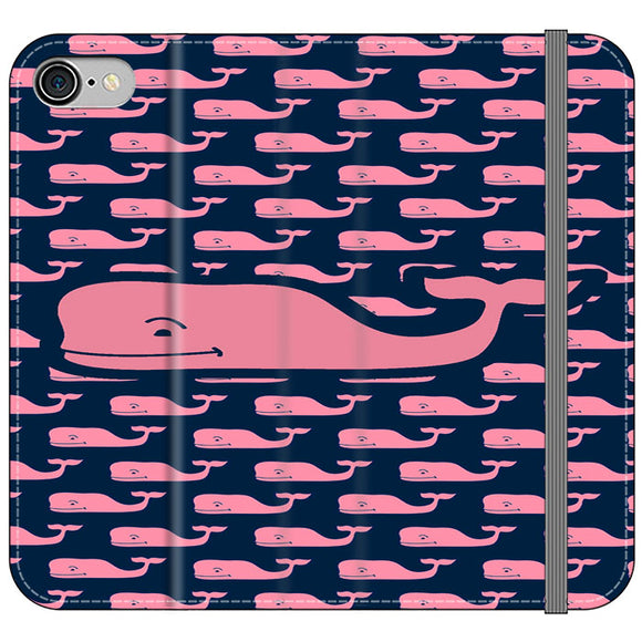 The Pope Vines Whale Pattern Navy iPhone 8 Flip Case | Frostedcase