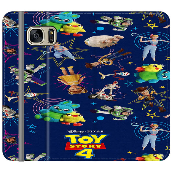 Toy Story 4 Doodle Blue Samsung Galaxy S7 EDGE Flip Case | Frostedcase