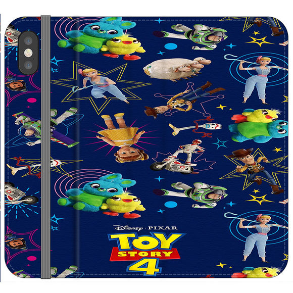 Toy Story 4 Doodle Blue iPhone X Flip Case | Frostedcase