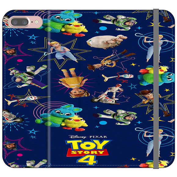 Toy Story 4 Doodle Blue iPhone 7 Plus Flip Case | Frostedcase