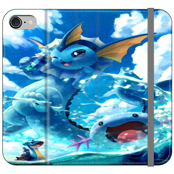 Vaporeon And Friends Pokemon Water iPhone 8 Flip Case | Frostedcase