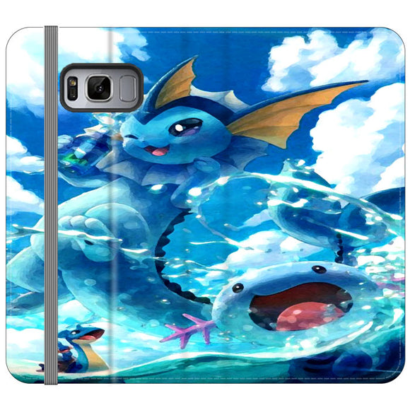 Vaporeon And Friends Pokemon Water Samsung Galaxy S8 Flip Case | Frostedcase