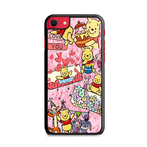 Winnie The Pooh Stiker College Pink iPhone SE Case | Frostedcase