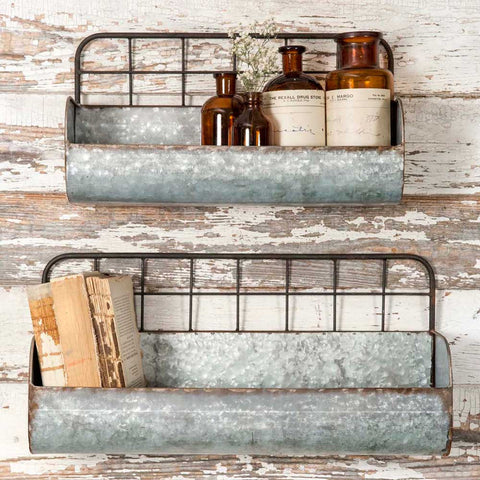 Wire Back Wall Shelves set of 2