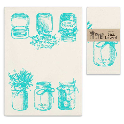 Blue Mason Jar Tea Towel