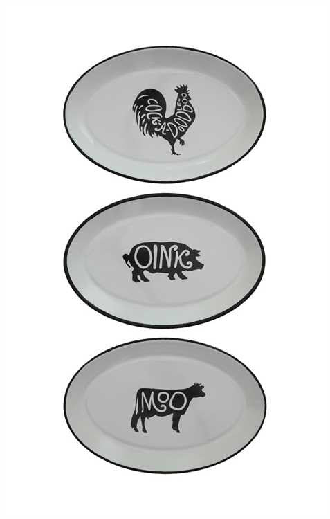 Set of 3 Enameled Tray with Farm Animals