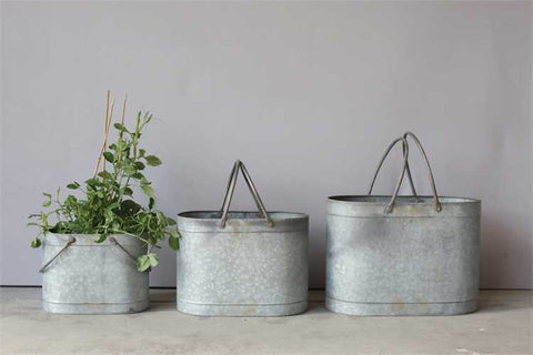 Metal Buckets with handles set of 3