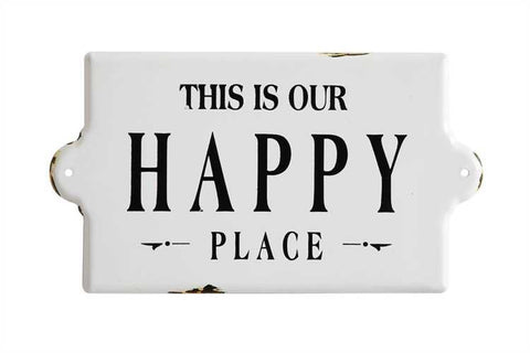 """This Is Our Happy Place"" Enameled Plaque"