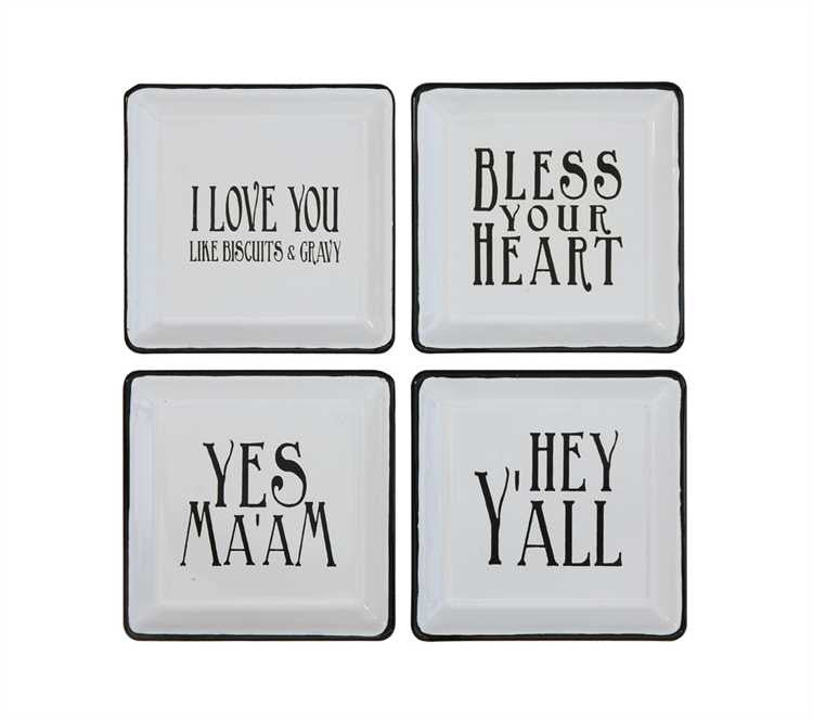 Enameled Trays with Southern Sayings set of 4
