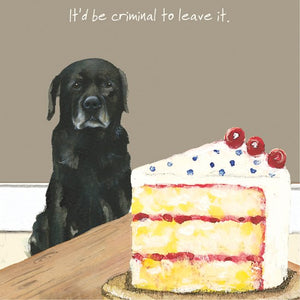 Black Labrador Dog (It'd be criminal to leave it) Greeting / Birthday Card