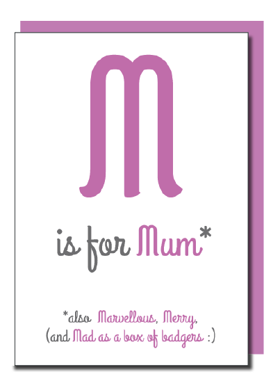 M Is For Mum Shiny Foiled Birthday / Mother's Day Card