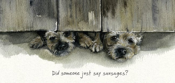 Border Terriers (Did someone just say sausages?) Dog Greeting / Birthday Card