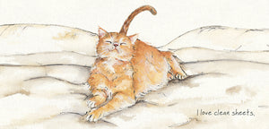 Ginger Cat (I love clean sheets) Greeting / Birthday Card
