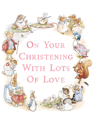 On Your Christening Peter Rabbit Beatrix Potter Greeting Card