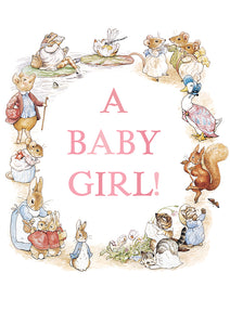 A Baby Girl! Peter Rabbit Beatrix Potter New Baby Card
