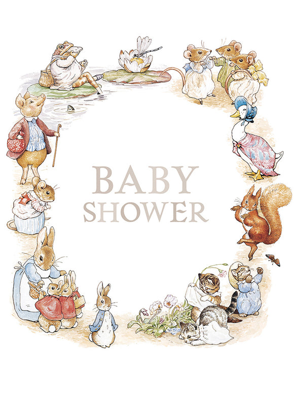 Baby Shower! Peter Rabbit Beatrix Potter New Baby Shower Card