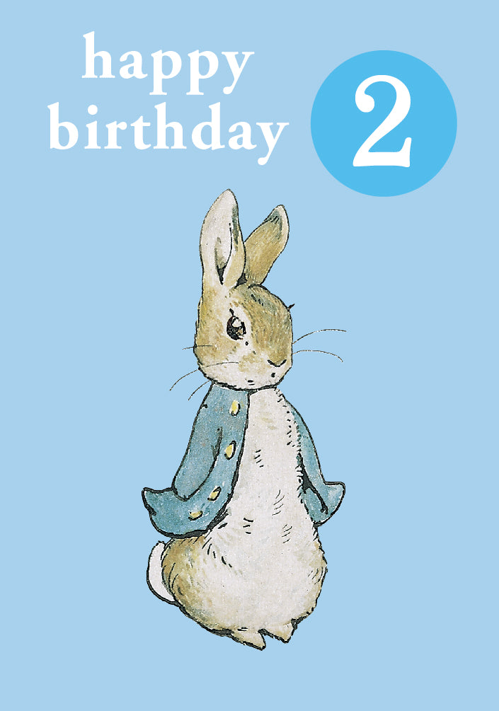 Happy Birthday 2, With Safe Pin Badge, Beatrix Potter Peter Rabbit 2nd Birthday Card