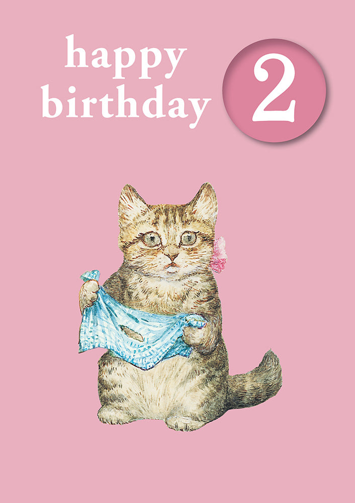 Happy Birthday 2, With Safe Pin Badge, Beatrix Potter Miss Moppet 2nd Birthday Card