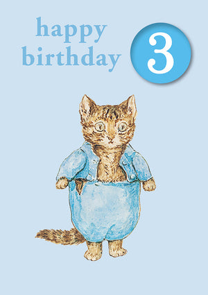 Happy Birthday 3, With Safe Pin Badge, Beatrix Potter Tom Kitten 3rd Birthday Card