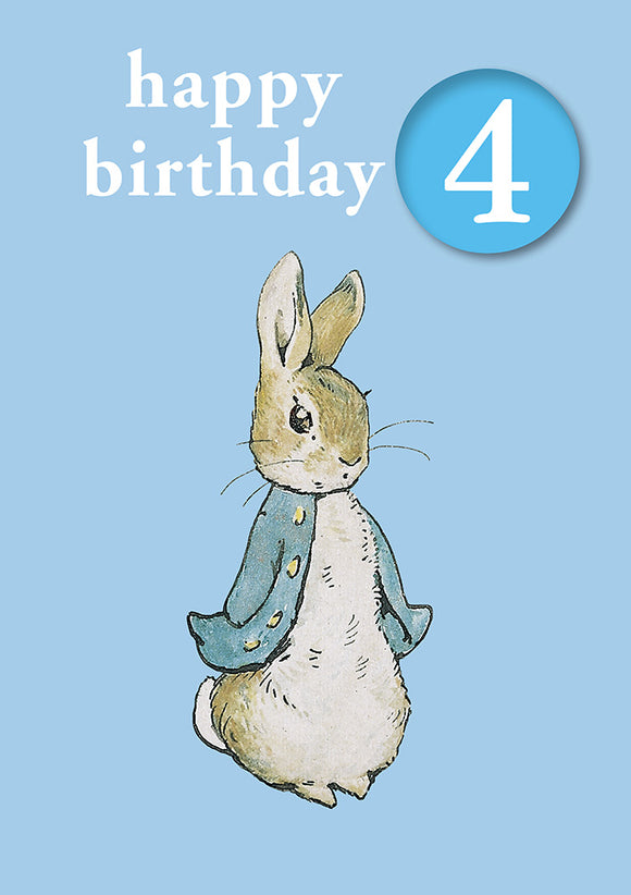 Happy Birthday 4, With Safe Pin Badge, Beatrix Potter Peter Rabbit 4th Birthday Card