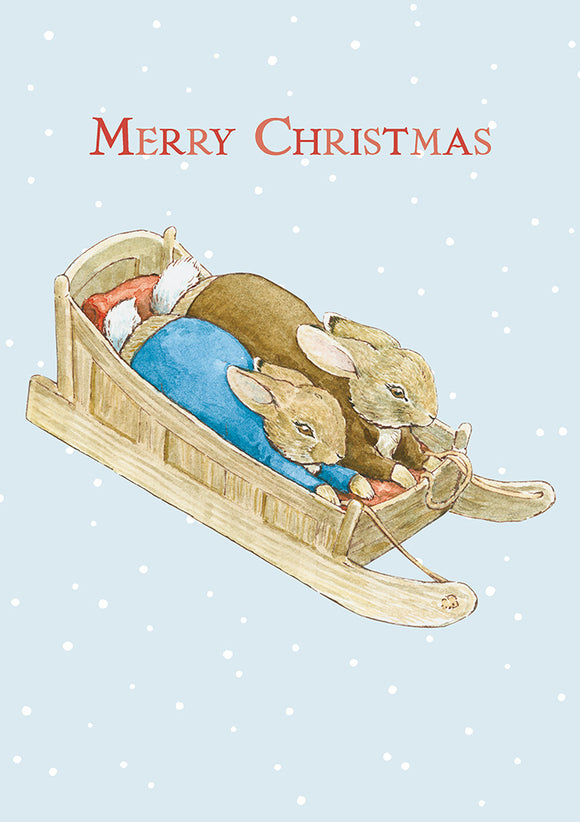 Merry Christmas Peter Rabbit Benjamin Bunny Beatrix Potter Christmas Card