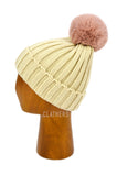 Ladies Beige Winter Knitted Beanie Detachable Faux Fur Bobble Pom Pom Hat
