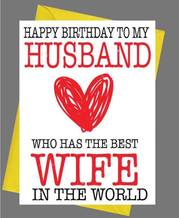 Happy Birthday Husband, From Best Wife Birthday Card