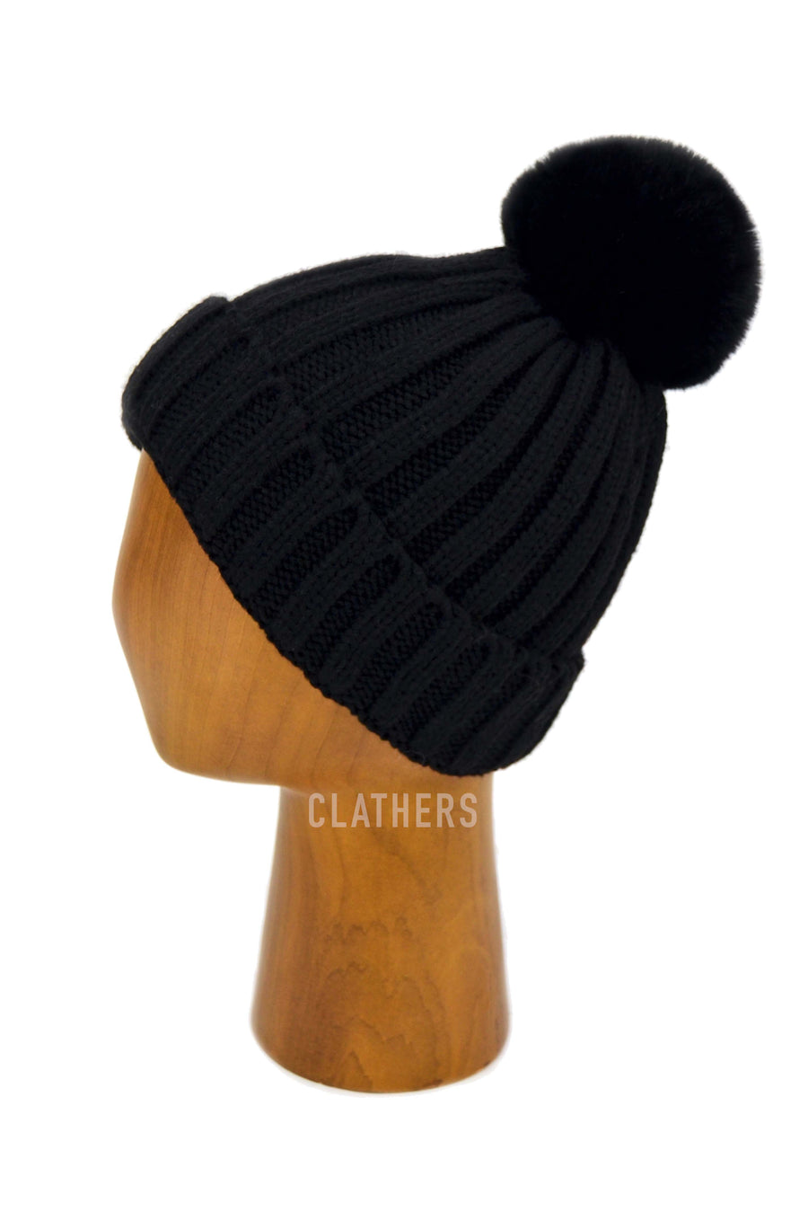 Ladies Black Winter Knitted Beanie Detachable Faux Fur Bobble Pom Pom Hat