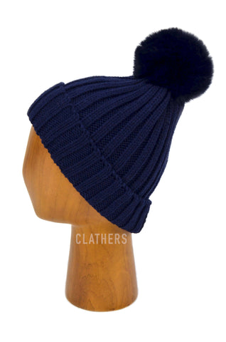 Ladies Blue Winter Knitted Beanie Detachable Faux Fur Bobble Pom Pom Hat
