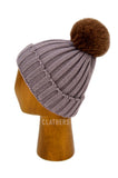 Ladies Brown Winter Knitted Beanie Detachable Faux Fur Bobble Pom Pom Hat