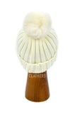 Ladies Cream Winter Knitted Beanie Detachable Faux Fur Bobble Pom Pom Hat