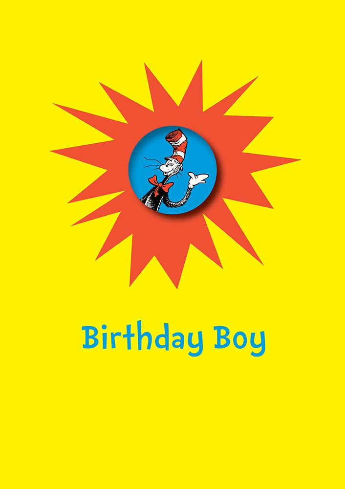 Birthday Boy With Safe Pin Badge Cat In A Hat Dr Seuss Birthday Card