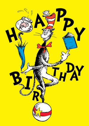 Happy Birthday Cat In A Hat Dr Seuss Birthday Card
