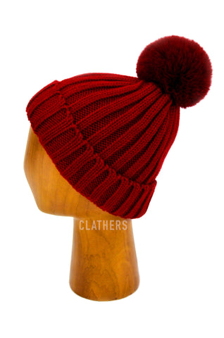Ladies Deep Red Winter Knitted Beanie Detachable Faux Fur Bobble Pom Pom Hat