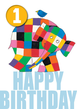 Elmer 1, With Safe Pin Badge, 1st Birthday Card