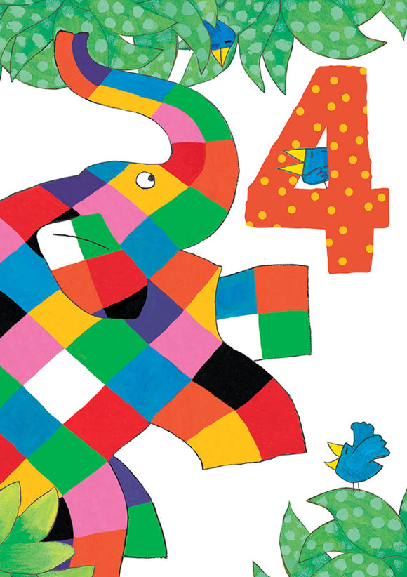 Elmer 4 4th Birthday Card