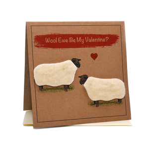 Sheep (Wool Ewe Be My Valentine?) Valentines Card