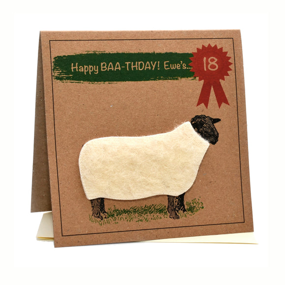 Sheep (Happy Baa-thday Ewe's 18) 18th Birthday Card