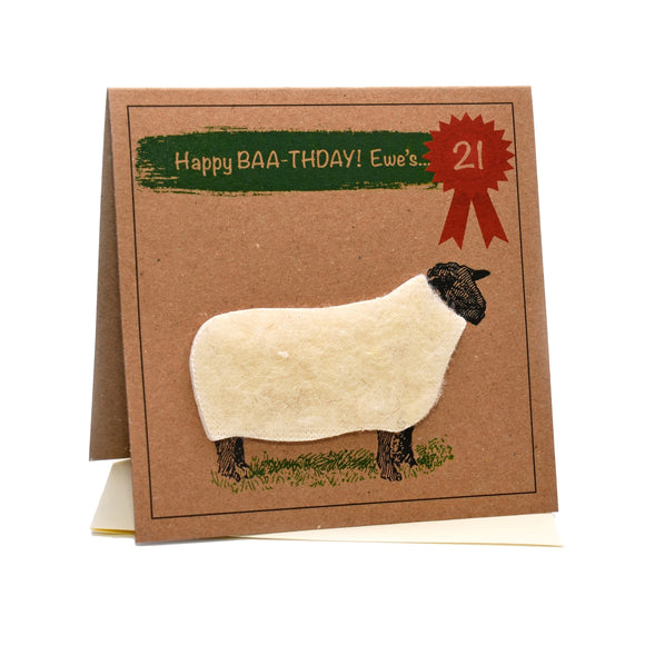 Sheep (Happy Baa-thday Ewe's 21) 21st Birthday Card