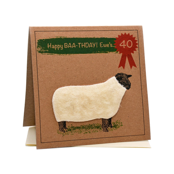Sheep (Happy Baa-thday Ewe's 40) 40th Birthday Card