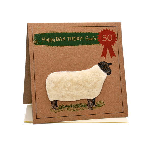 Sheep (Happy Baa-thday Ewe's 50) 50th Birthday Card