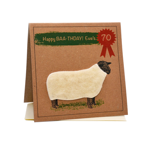 Sheep (Happy Baa-thday Ewe's 70) 70th Birthday Card
