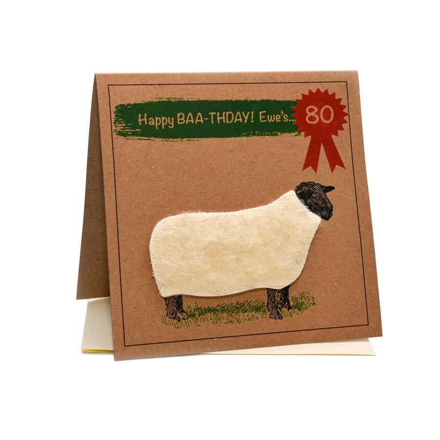 Sheep (Happy Baa-thday Ewe's 80) 80th Birthday Card