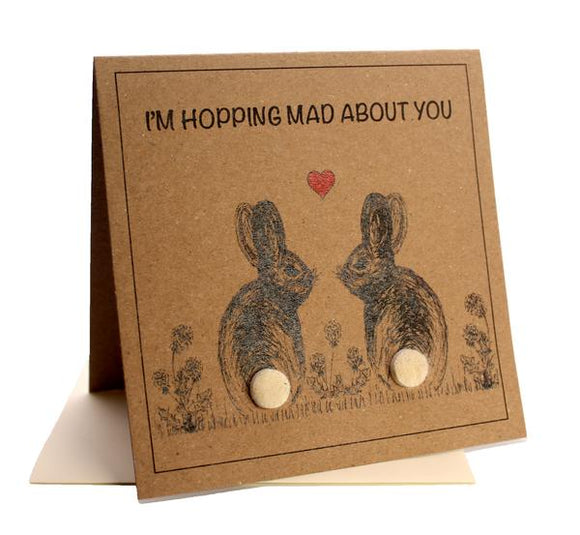 Bunny (I'm Hopping Mad About You) Anniversary / Valentines / Birthday Card