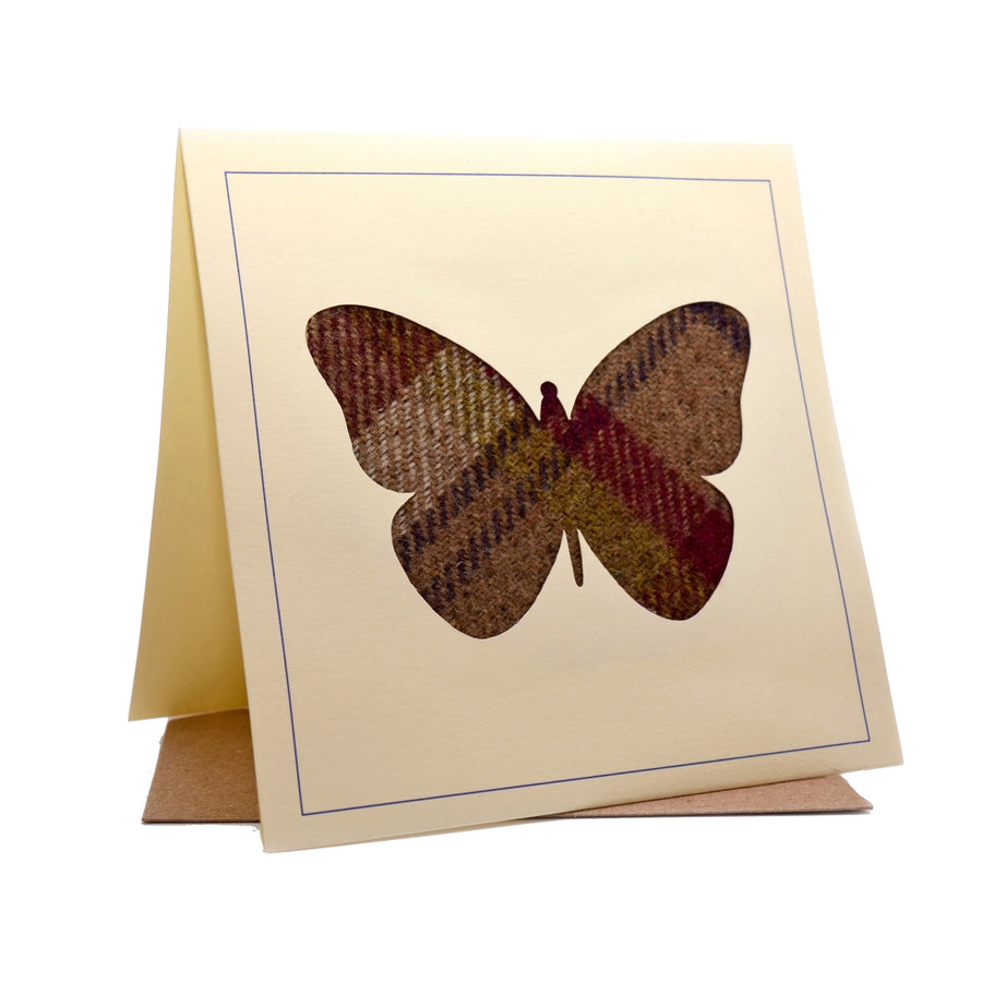 Butterfly Tweed Fabric Greeting / Birthday Card