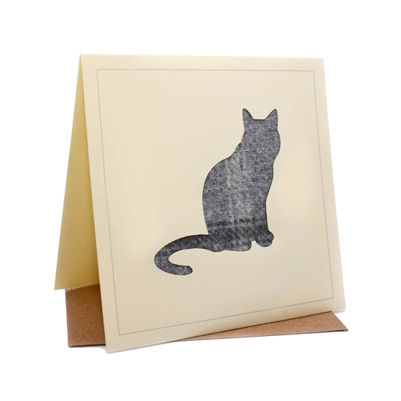 Cat Tweed Fabric Greeting / Birthday Card