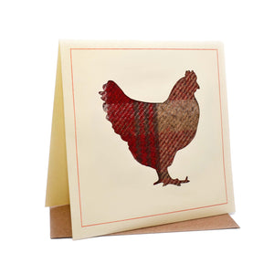 Chicken Tweed Fabric Greeting / Birthday Card