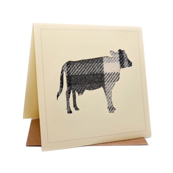 Cow Tweed Fabric Greeting / Birthday Card
