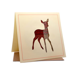 Deer Tweed Fabric Greeting / Birthday Card
